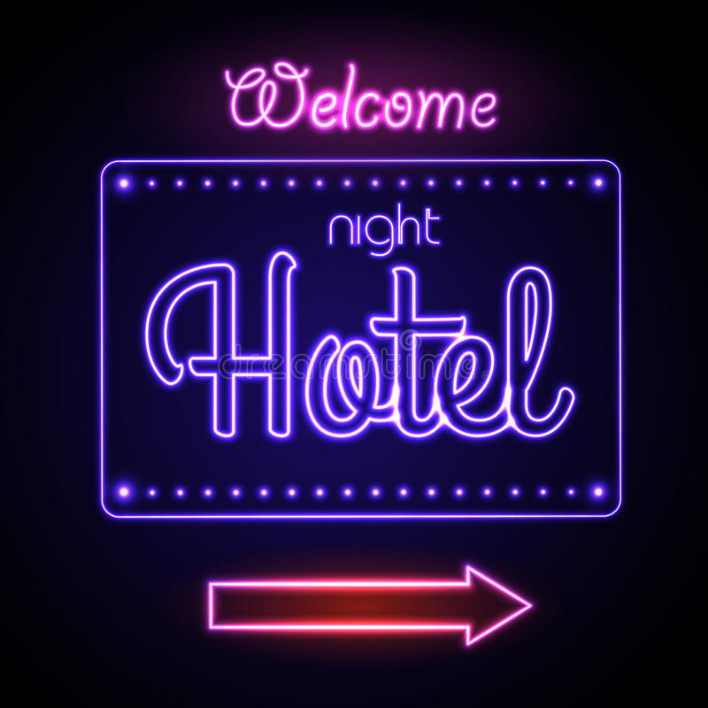 霓虹ny符号体育场美国人 中国装饰的旅馆新的晚上雄伟年 库存例证