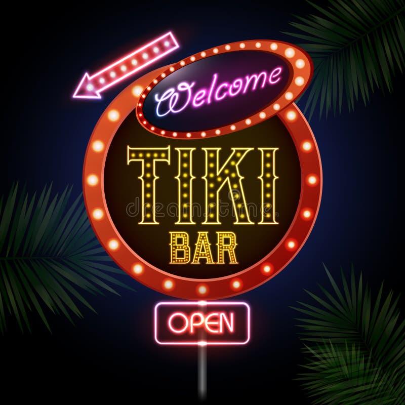 霓虹ny符号体育场美国人 Tiki酒吧 向量例证