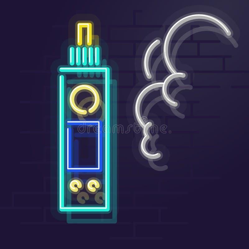 霓虹vape 夜被阐明的华尔街标志 免版税库存图片