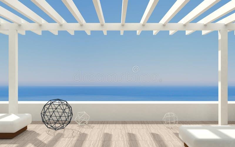 露台现代海洋别墅 皇族释放例证