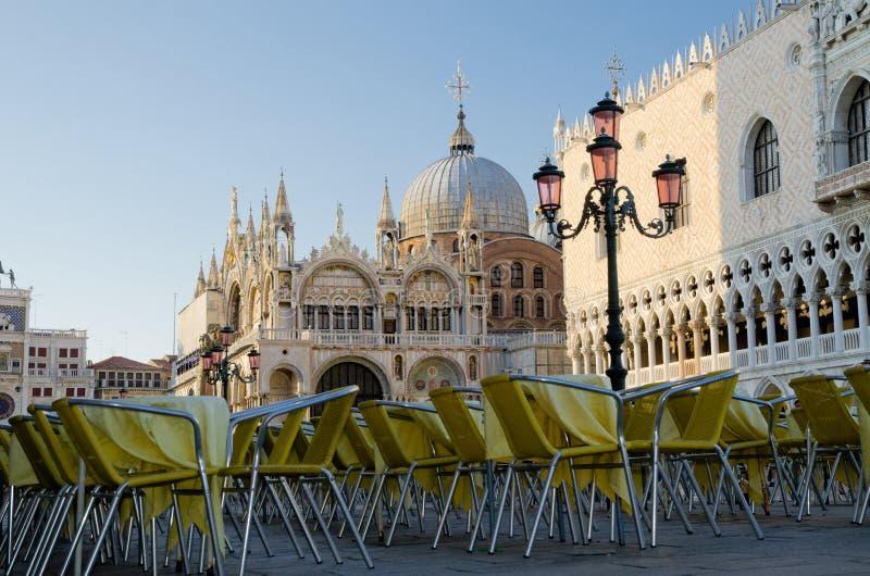 露天咖啡馆在威尼斯,意大利 免版税图库摄影