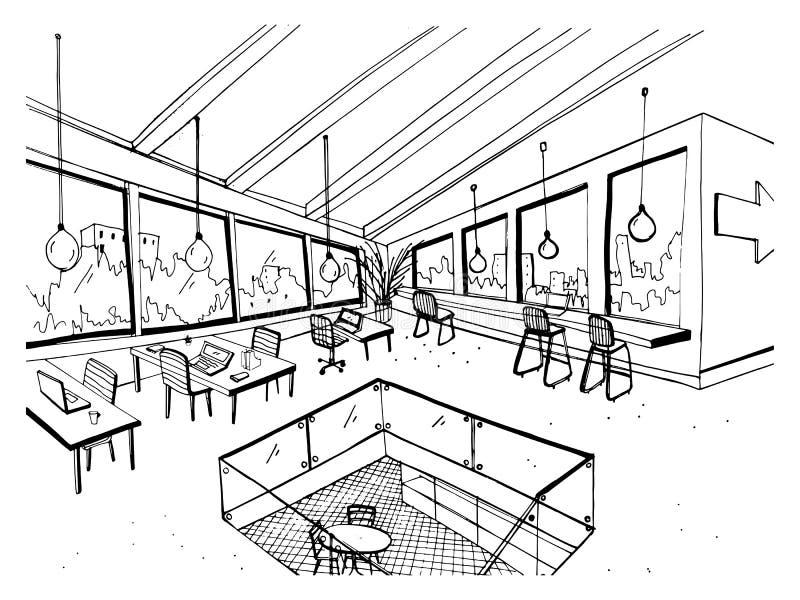露天场所单图或coworking与大全景窗口和舒适的家具 内部草图 向量例证
