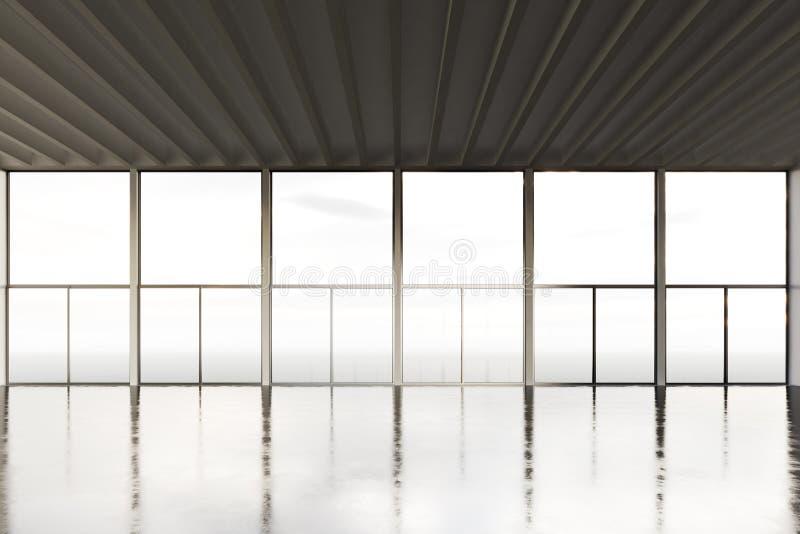 露天场所室现代大厦照片  倒空与水泥地板和全景窗口的内部顶楼样式 摘要 库存图片