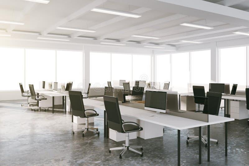 露天场所有家具和大窗口的顶楼办公室 向量例证