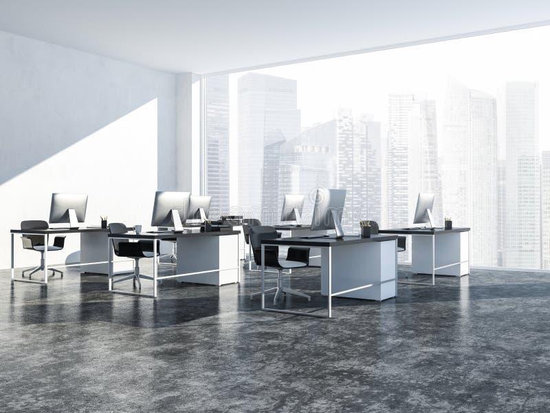 露天场所白色现代办公室内部,顶楼 皇族释放例证