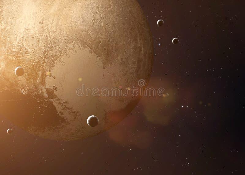 从露天场所采取的射击冥王星 拼贴画 库存照片