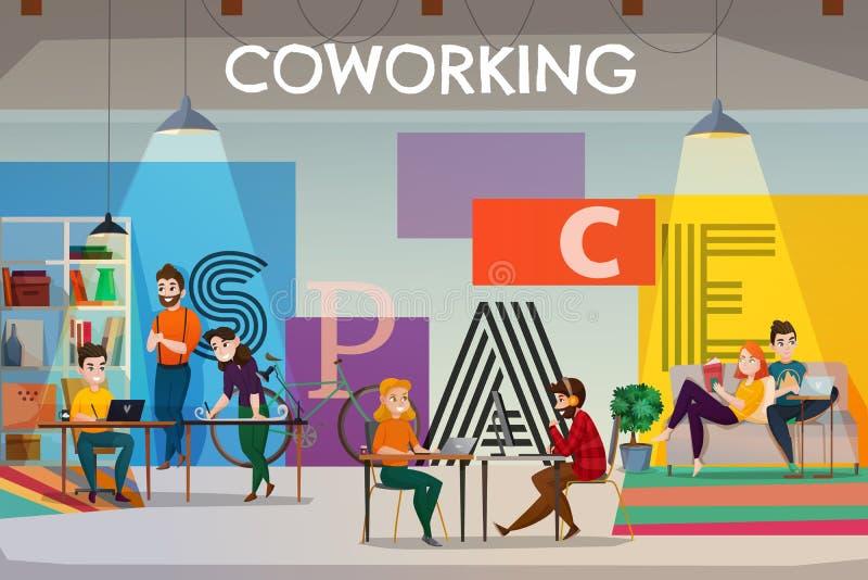 露天场所Coworking海报 皇族释放例证