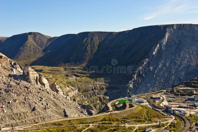 露天开采矿矿厂在Kirovsk 免版税库存图片