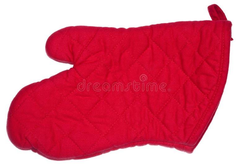 露指手套烤箱红色 库存图片