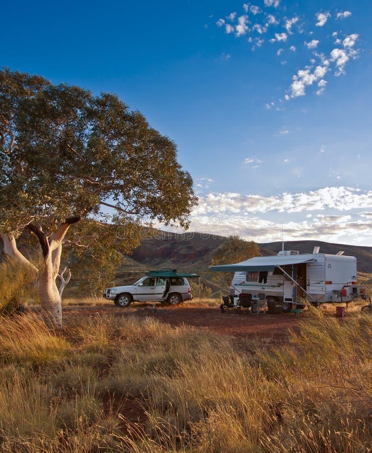 露营地在澳洲内地 库存图片