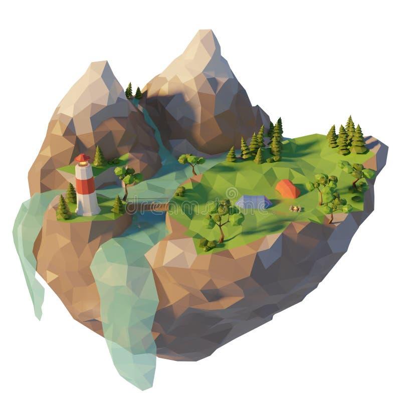 露营地,帐篷,在河附近的篝火 与山的野营的海岛低多风景 E 3d?? 向量例证