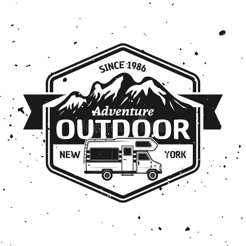 露营者货车和山导航单色象征 库存例证