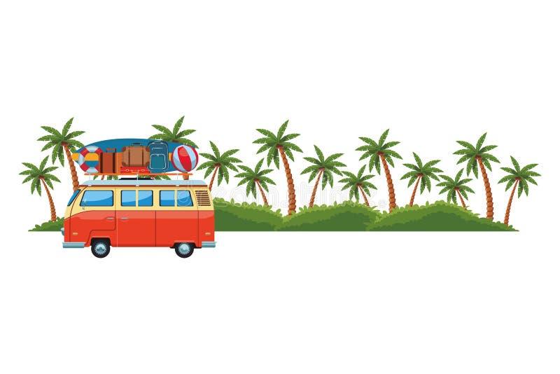 露营者货车和海岛 向量例证