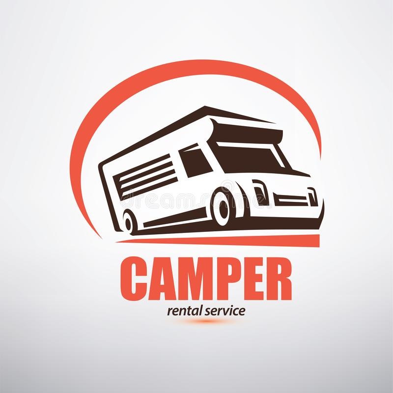 露营者货车商标模板 向量例证