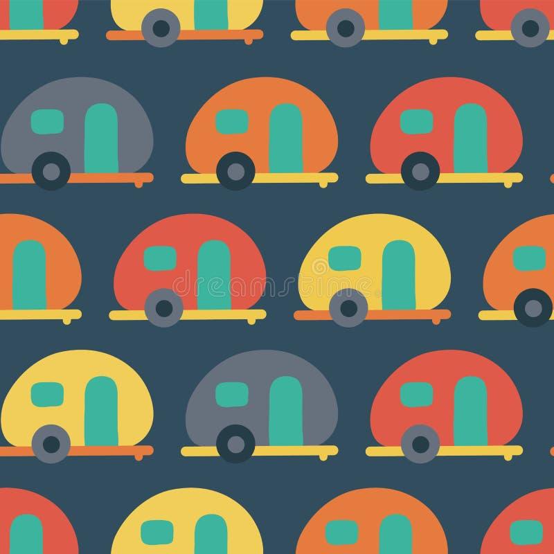 露营者货车无缝的传染媒介样式 红色减速火箭的有蓬卡车,蓝色,黄色,橙色无缝的传染媒介背景 斯堪的纳维亚平的样式 向量例证