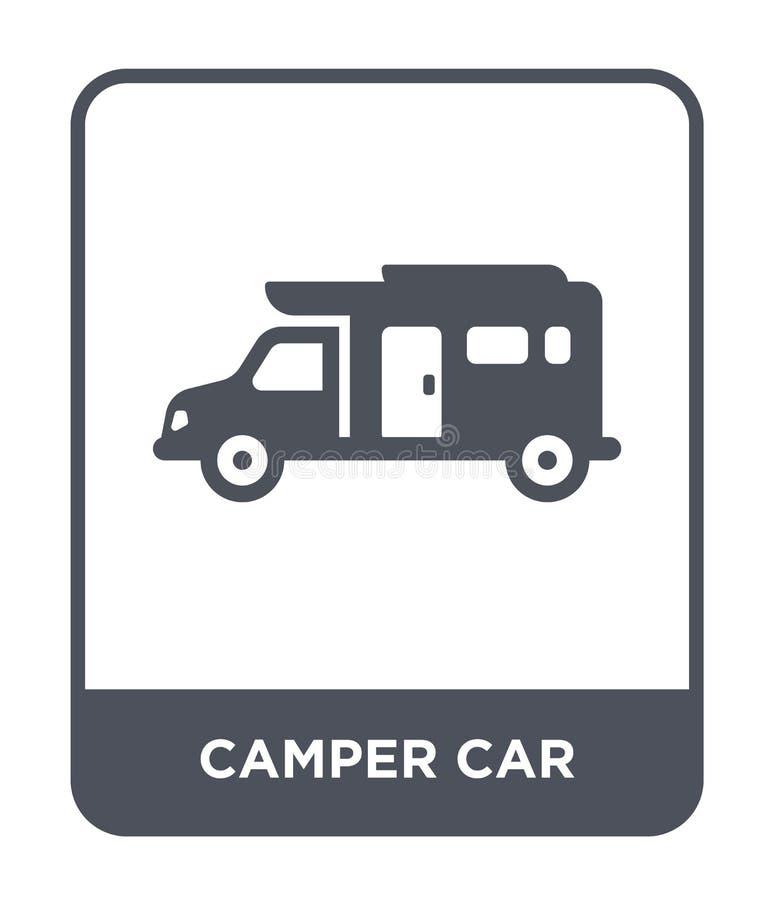 露营车在时髦设计样式的汽车象 露营车在白色背景隔绝的汽车象 露营车汽车现代传染媒介的象简单和 库存例证