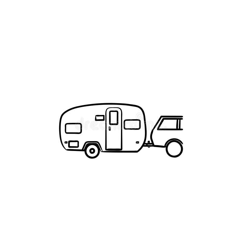 露营车旅行手拉的概述乱画象 皇族释放例证