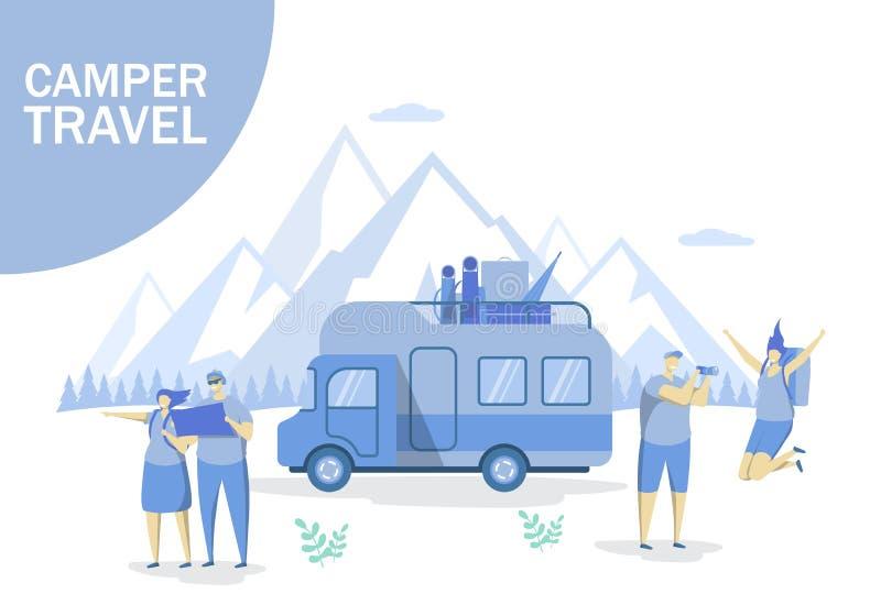 露营车旅行网横幅的,网站页传染媒介概念 皇族释放例证