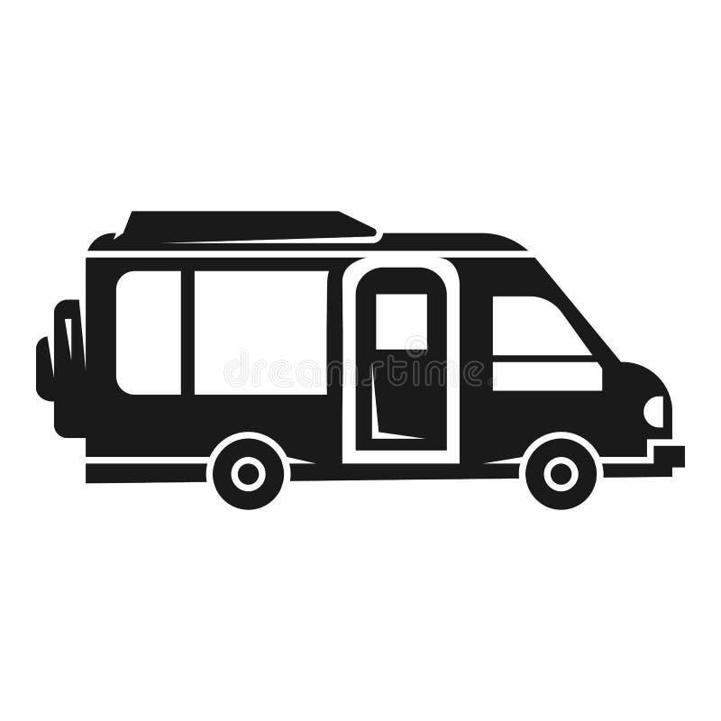 露营车汽车象,简单的样式 向量例证