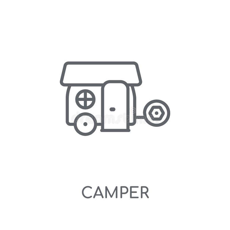 露营车线性象 在白色的现代概述露营车商标概念 皇族释放例证
