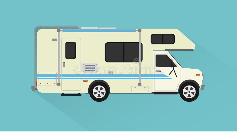 露营车,拖车汽车设计平的样式 皇族释放例证