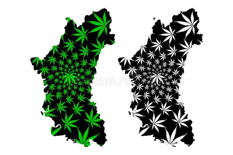 霹雳州状态和马来西亚,马来西亚地图的联盟的联邦疆土是被设计的大麻叶子绿色和黑色,霹雳州 皇族释放例证