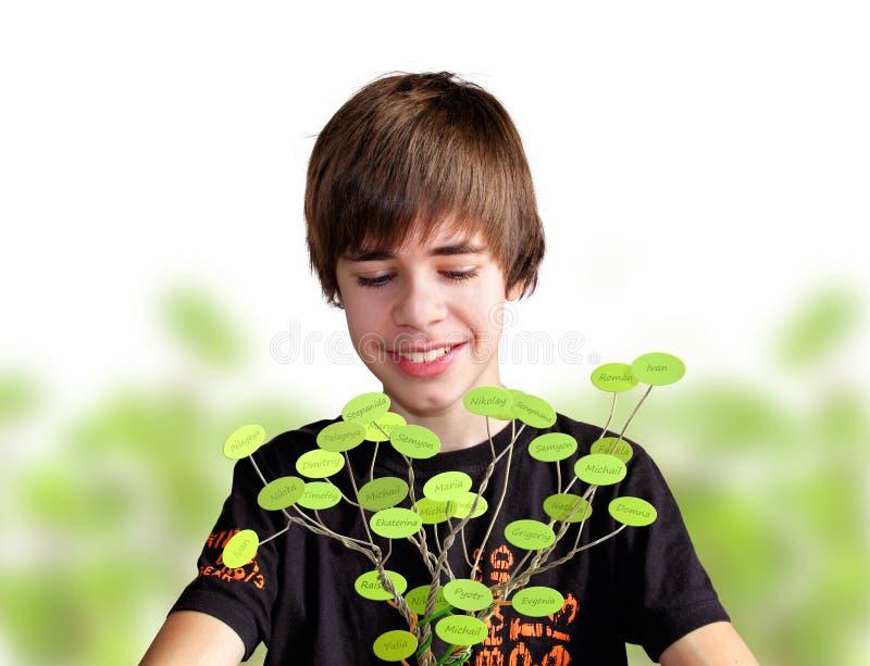 青少年做系族树 免版税库存图片
