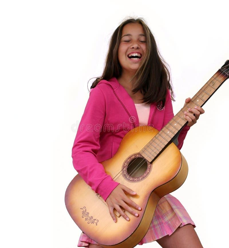 青少年女孩的吉他 免版税库存图片