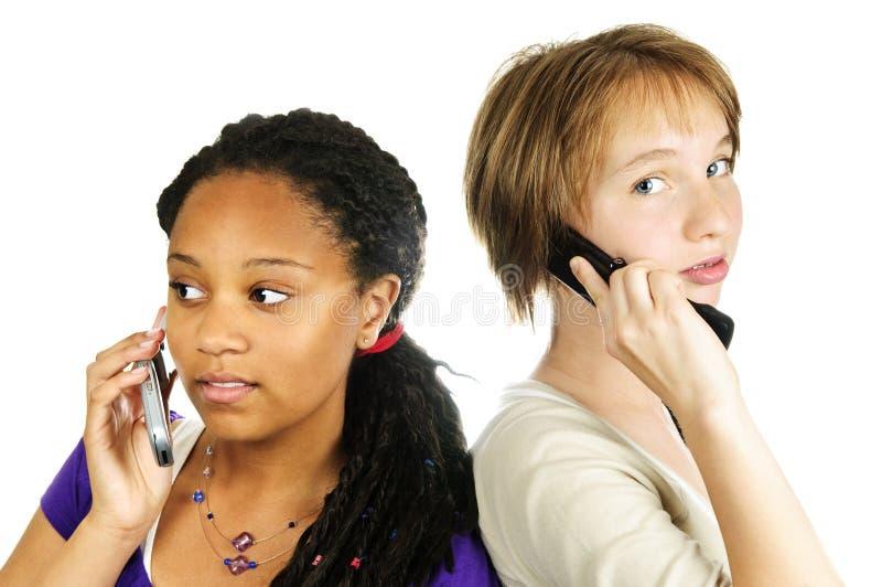 青少年女孩的移动电话 免版税库存照片