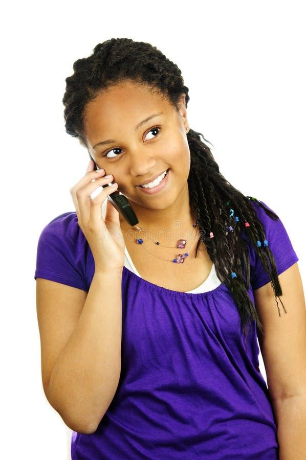 青少年女孩的移动电话 库存照片