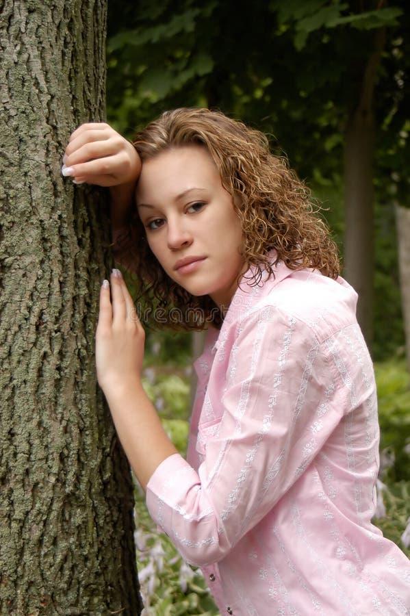 青少年女孩的纵向 免版税库存照片