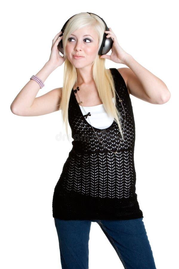 青少年女孩的耳机 免版税库存图片
