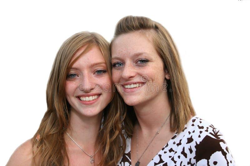 青少年最佳的fr愉快的姐妹 库存照片