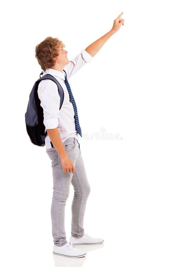 青少年男孩指向 免版税库存照片