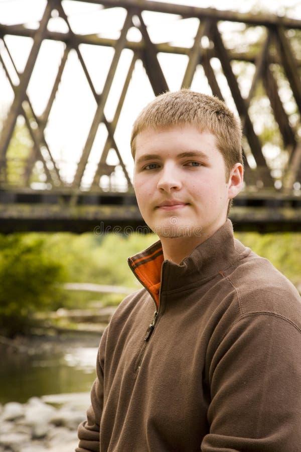 青少年男性的纵向 免版税图库摄影