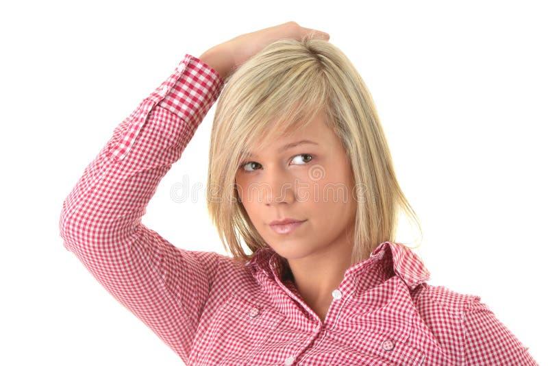 青少年白肤金发的纵向的学员 免版税库存照片