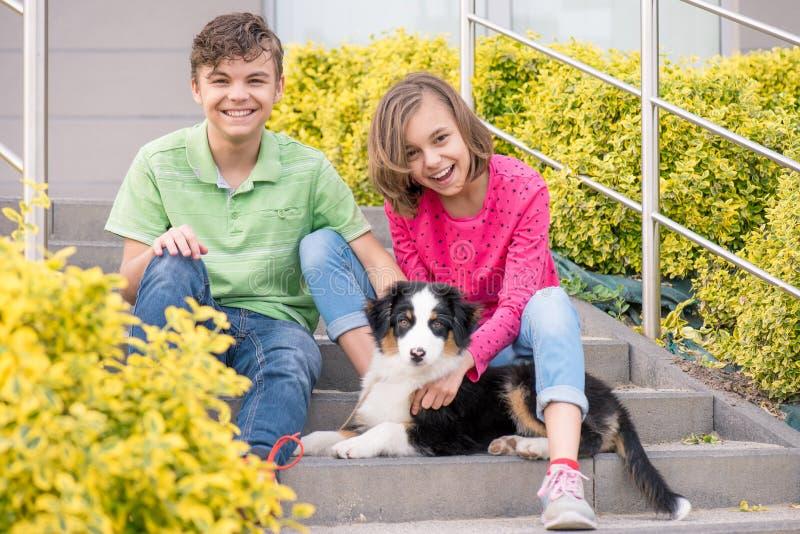 青少年的使用与小狗的男孩和女孩 免版税库存照片
