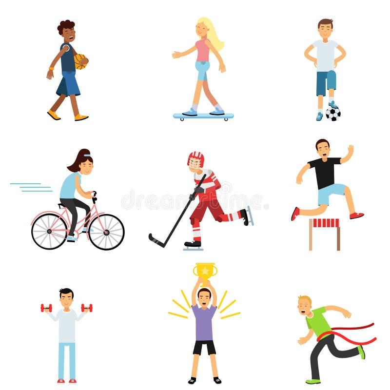 青少年的参与不同的体育活动,活跃生活方式,嬉戏孩子的男孩和女孩实践在类健身房 库存例证