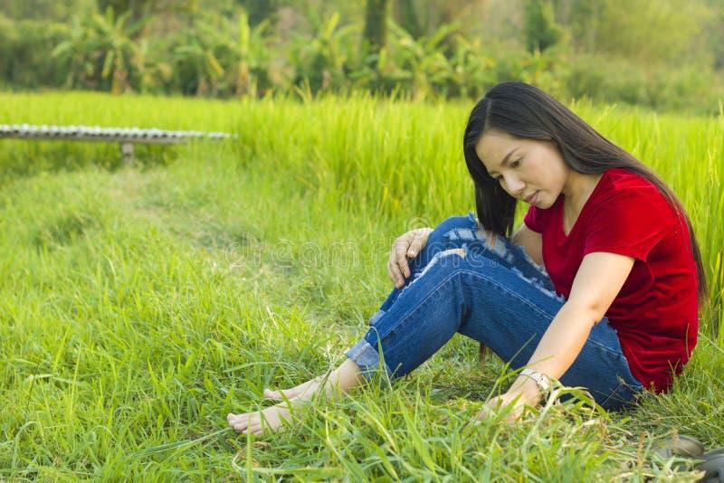 青少年的在微笑米的领域的女孩亚洲开会认为和愉快地提醒过去了不起的故事 库存图片