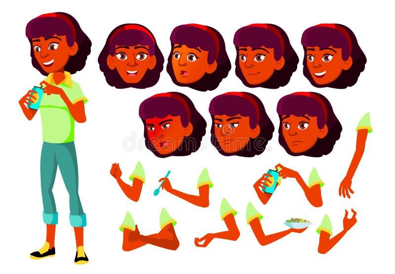 青少年的女孩传染媒介 印地安人,印度 亚洲 少年 表面 孩子 面孔情感,各种各样的姿态 动画创作 库存例证