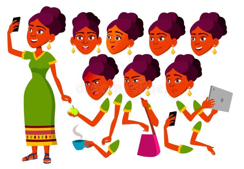 青少年的女孩传染媒介 印地安,印度少年 休闲,微笑 亚洲 面孔情感,各种各样的姿态 动画创作集合 库存例证