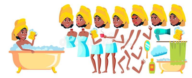 青少年的女孩传染媒介 投反对票 美国黑人 动画创作集合 面孔情感,姿态 友好,欢呼 茴香酒 为 向量例证
