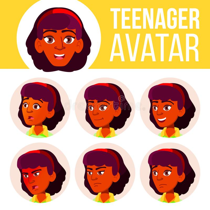 青少年的女孩具体化集合传染媒介 印地安人,印度 亚洲 面对情感 用户,字符 欢呼,相当 动画片愉快的顶头例证人 皇族释放例证