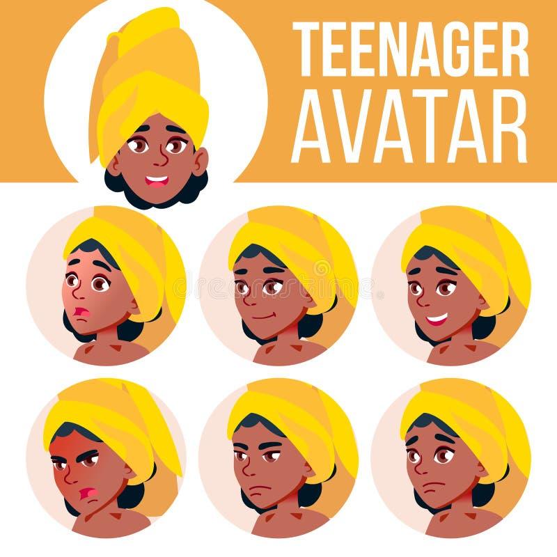 青少年的女孩具体化集合传染媒介 投反对票 美国黑人 面对情感 脸面护理,人们 正 动画片顶头例证 向量例证