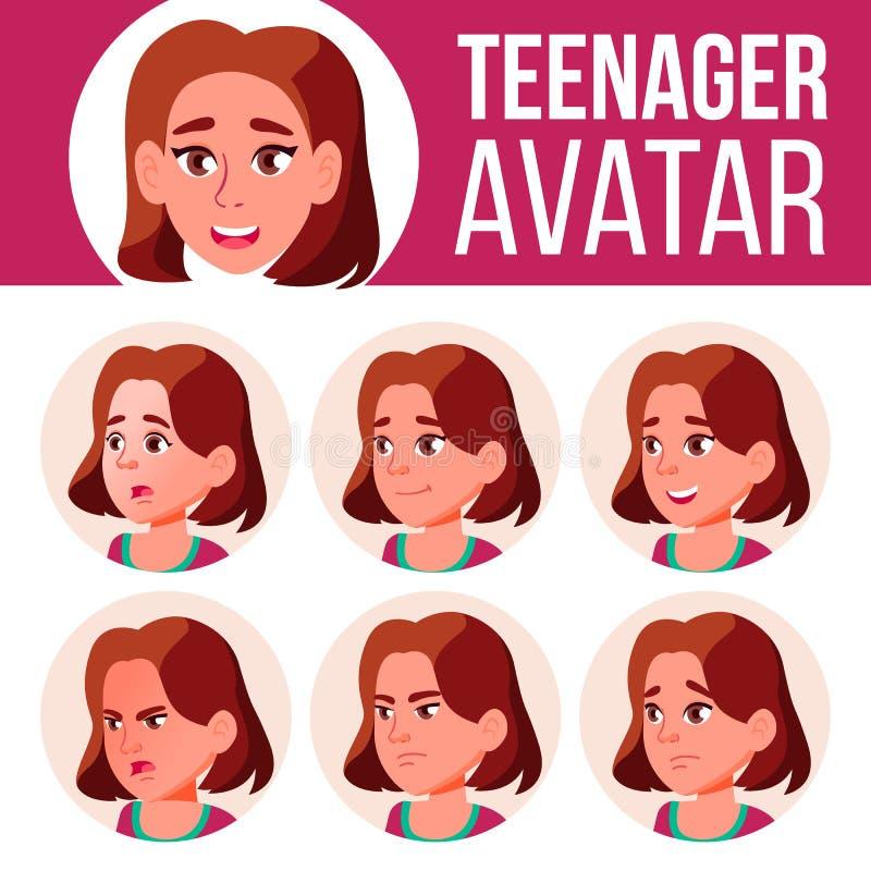 青少年的女孩具体化集合传染媒介 面对情感 高,儿童学生 小,小辈 动画片顶头例证 皇族释放例证