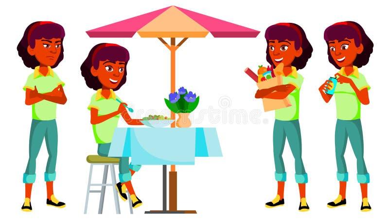 青少年的女孩姿势被设置的传染媒介 印地安人,印度 亚洲人,正面 对介绍,印刷品,邀请设计 被隔绝的动画片 皇族释放例证