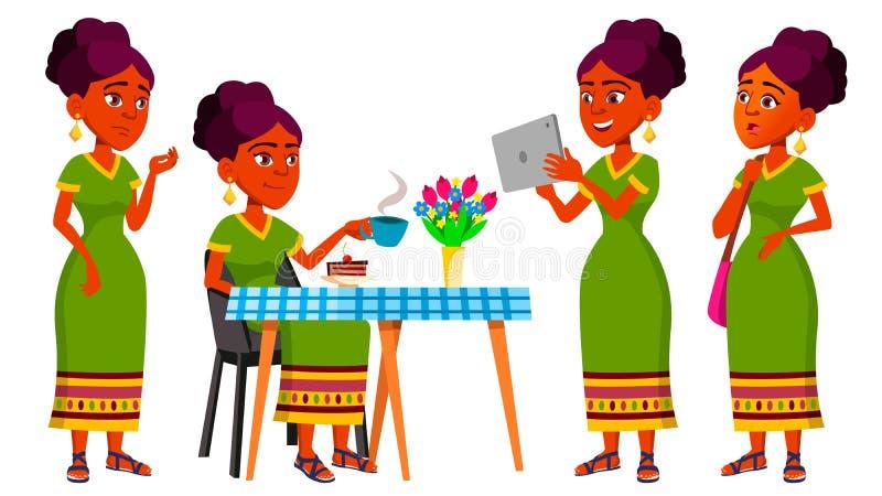 青少年的女孩姿势被设置的传染媒介 印地安人,印度 亚洲 逗人喜爱,可笑 喜悦 对明信片,公告,盖子设计 查出 库存例证
