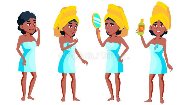 青少年的女孩姿势被设置的传染媒介 投反对票 美国黑人 休闲,微笑 对网,小册子,海报设计 被隔绝的动画片 库存例证