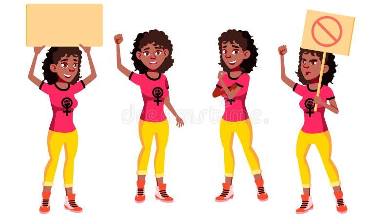青少年的女孩姿势被设置的传染媒介 投反对票 美国黑人 女孩力量,女权主义 友好,欢呼 横幅的公开抗议 皇族释放例证
