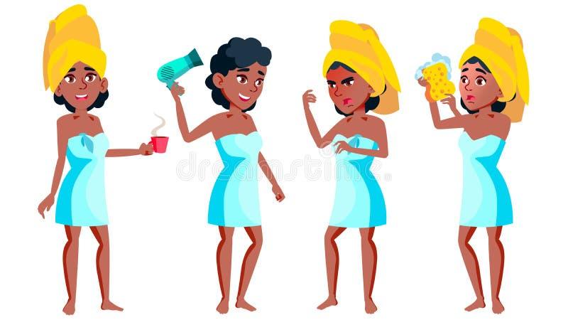 青少年的女孩姿势被设置的传染媒介 投反对票 美国黑人 滑稽,友谊 对广告,问候,公告设计 向量例证